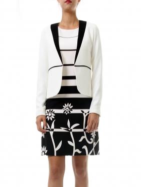 Beyaz Siyah Tasarım Ceket G-8020