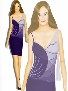Mor Abiye Elbise Tasarımı TS-3465