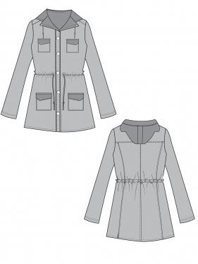Kapüşonlu Uzun Ceket Kalıbı K-9070