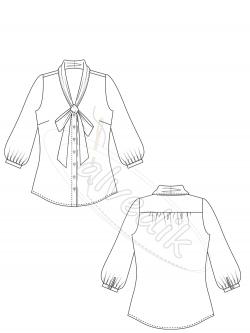 Fularlı Gömlek Kalıbı K-2070  Beden:34/52